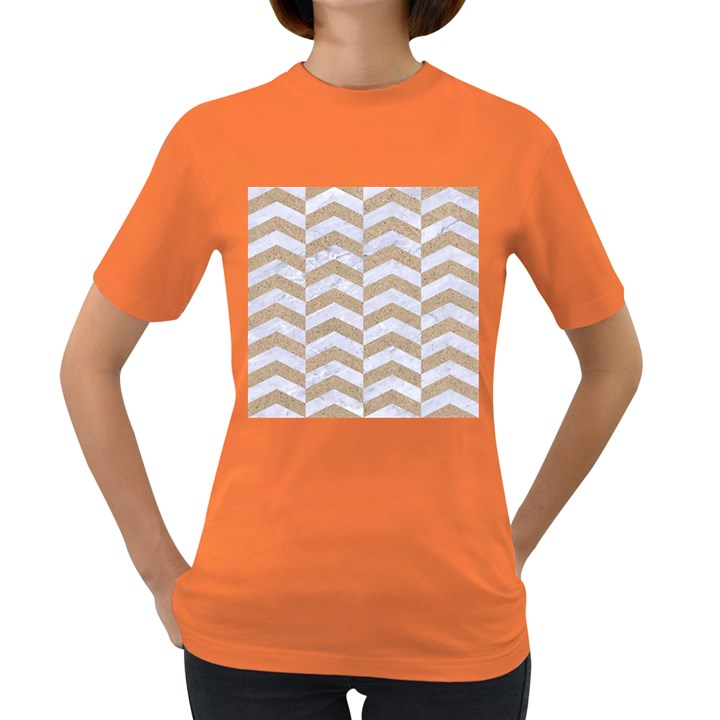 CHEVRON2 WHITE MARBLE & SAND Women s Dark T-Shirt