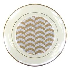 Chevron2 White Marble & Sand Porcelain Plates