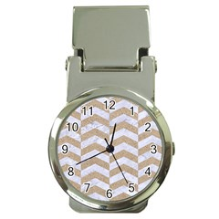 Chevron2 White Marble & Sand Money Clip Watches