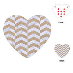 Chevron2 White Marble & Sand Playing Cards (heart)  by trendistuff