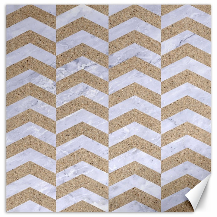 CHEVRON2 WHITE MARBLE & SAND Canvas 16  x 16
