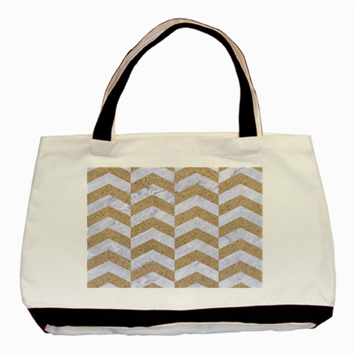 CHEVRON2 WHITE MARBLE & SAND Basic Tote Bag (Two Sides)
