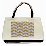 CHEVRON2 WHITE MARBLE & SAND Basic Tote Bag (Two Sides) Back