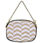 CHEVRON2 WHITE MARBLE & SAND Chain Purses (One Side)  Front
