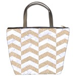 CHEVRON2 WHITE MARBLE & SAND Bucket Bags Back