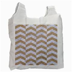 Chevron2 White Marble & Sand Recycle Bag (one Side)
