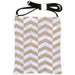 CHEVRON2 WHITE MARBLE & SAND Shoulder Sling Bags Front