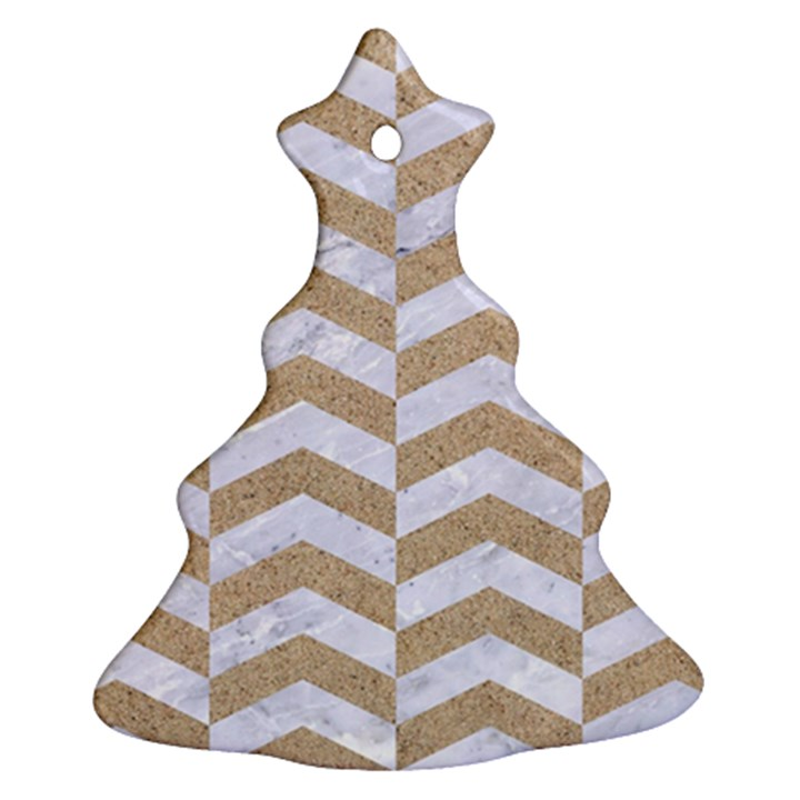 CHEVRON2 WHITE MARBLE & SAND Christmas Tree Ornament (Two Sides)