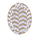 CHEVRON2 WHITE MARBLE & SAND Ornament (Oval Filigree) Front
