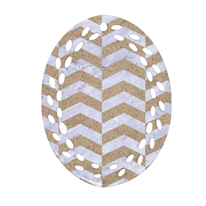 CHEVRON2 WHITE MARBLE & SAND Ornament (Oval Filigree)