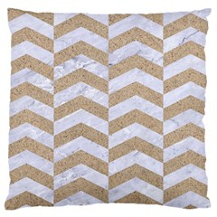 Chevron2 White Marble & Sand Large Cushion Case (two Sides) by trendistuff