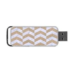 Chevron2 White Marble & Sand Portable Usb Flash (two Sides)