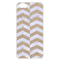Chevron2 White Marble & Sand Apple Iphone 5 Seamless Case (white)