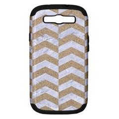 Chevron2 White Marble & Sand Samsung Galaxy S Iii Hardshell Case (pc+silicone) by trendistuff