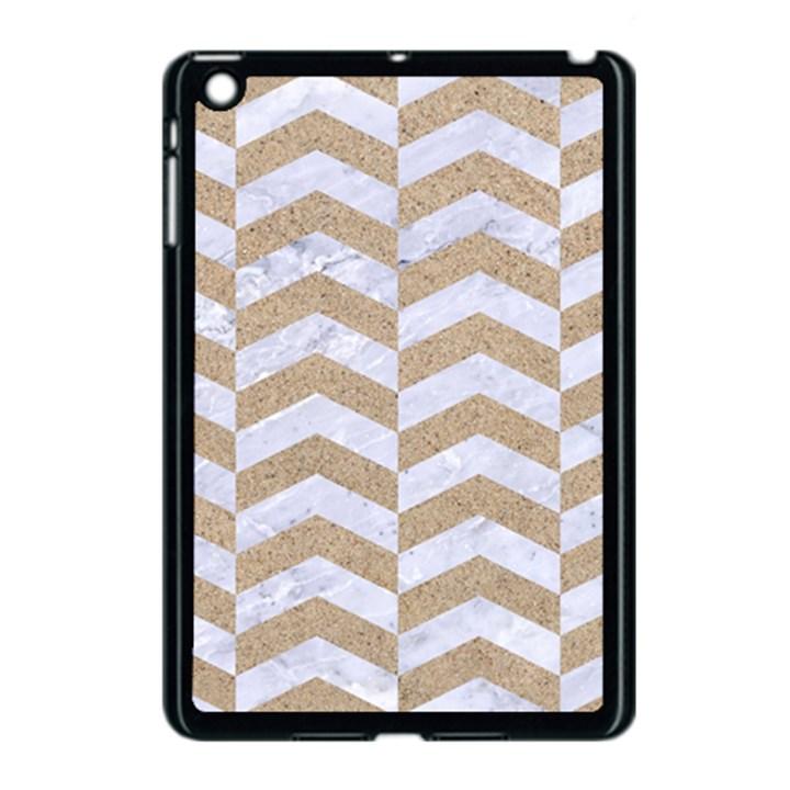 CHEVRON2 WHITE MARBLE & SAND Apple iPad Mini Case (Black)