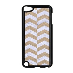 Chevron2 White Marble & Sand Apple Ipod Touch 5 Case (black)