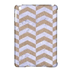 Chevron2 White Marble & Sand Apple Ipad Mini Hardshell Case (compatible With Smart Cover) by trendistuff