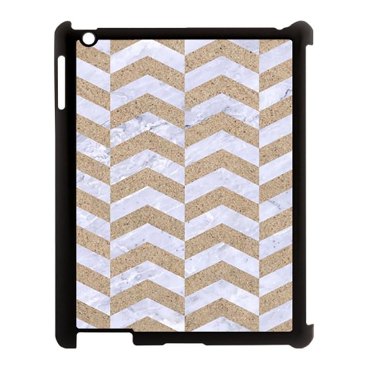 CHEVRON2 WHITE MARBLE & SAND Apple iPad 3/4 Case (Black)