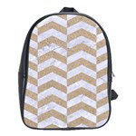 CHEVRON2 WHITE MARBLE & SAND School Bag (XL) Front