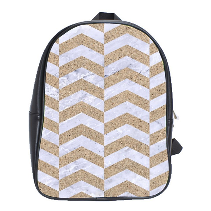CHEVRON2 WHITE MARBLE & SAND School Bag (XL)