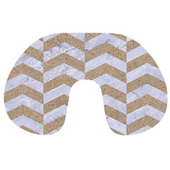 Chevron2 White Marble & Sand Travel Neck Pillows