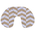 CHEVRON2 WHITE MARBLE & SAND Travel Neck Pillows Front