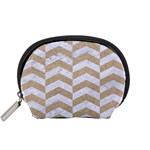 CHEVRON2 WHITE MARBLE & SAND Accessory Pouches (Small)  Front