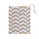 CHEVRON2 WHITE MARBLE & SAND Drawstring Pouches (Large)  Front