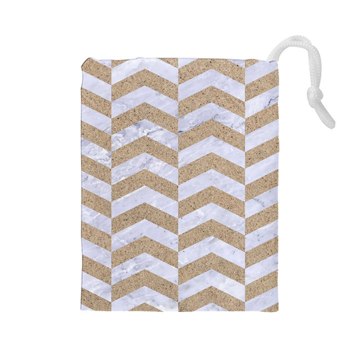 CHEVRON2 WHITE MARBLE & SAND Drawstring Pouches (Large)