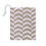 CHEVRON2 WHITE MARBLE & SAND Drawstring Pouches (Large)  Back