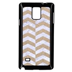 Chevron2 White Marble & Sand Samsung Galaxy Note 4 Case (black)
