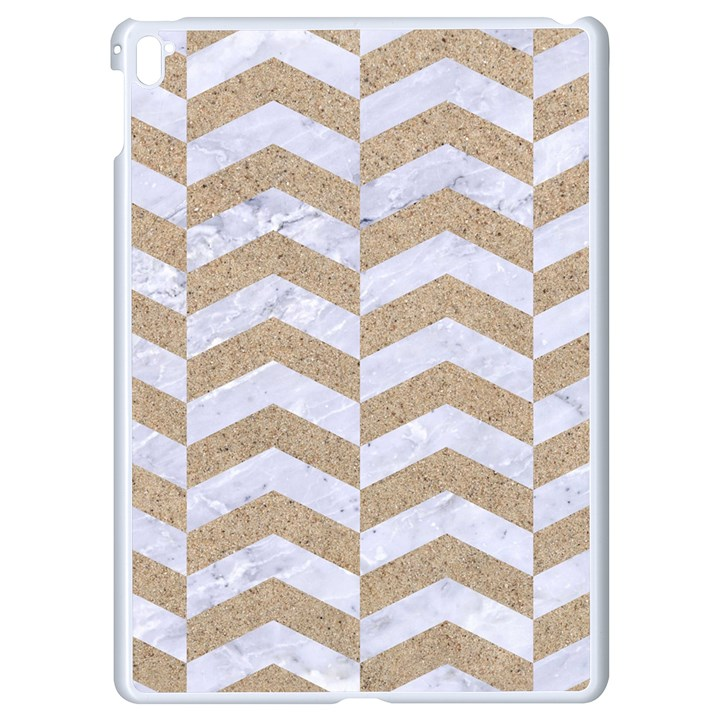 CHEVRON2 WHITE MARBLE & SAND Apple iPad Pro 9.7   White Seamless Case
