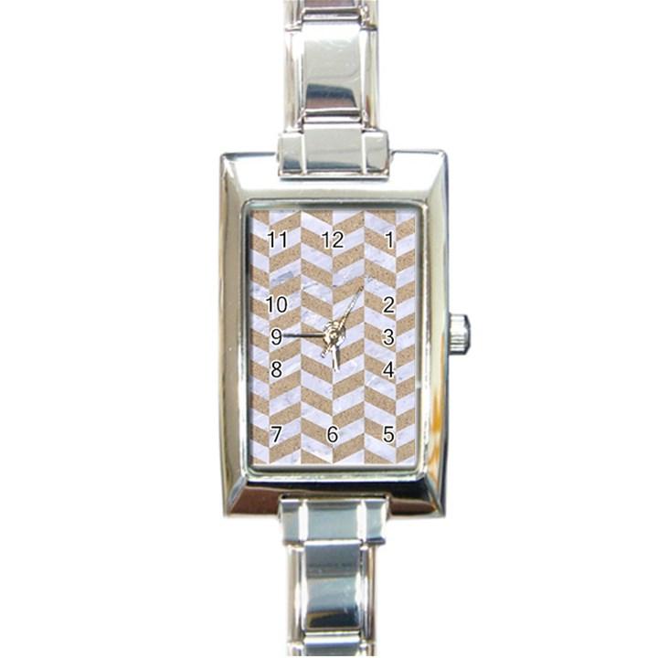 CHEVRON1 WHITE MARBLE & SAND Rectangle Italian Charm Watch