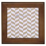 CHEVRON1 WHITE MARBLE & SAND Framed Tiles