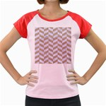 CHEVRON1 WHITE MARBLE & SAND Women s Cap Sleeve T-Shirt Front