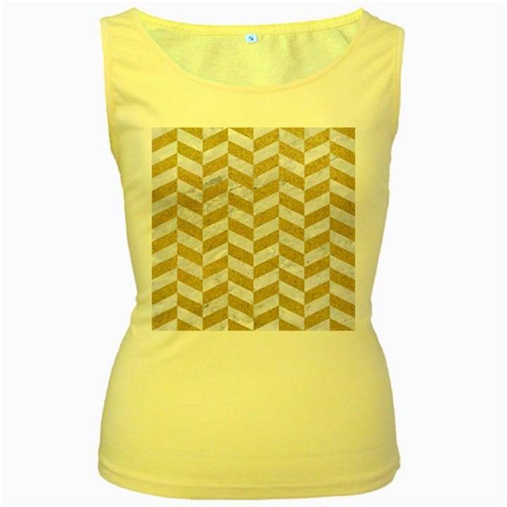 CHEVRON1 WHITE MARBLE & SAND Women s Yellow Tank Top