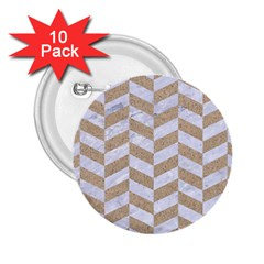CHEVRON1 WHITE MARBLE & SAND 2.25  Buttons (10 pack)