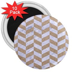 Chevron1 White Marble & Sand 3  Magnets (10 Pack)
