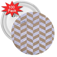 Chevron1 White Marble & Sand 3  Buttons (100 Pack)