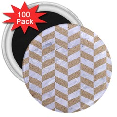 CHEVRON1 WHITE MARBLE & SAND 3  Magnets (100 pack)