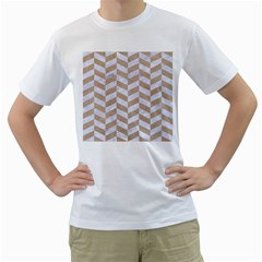 Chevron1 White Marble & Sand Men s T Shirt (white) (two Sided)