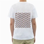 CHEVRON1 WHITE MARBLE & SAND Men s T-Shirt (White) (Two Sided) Back
