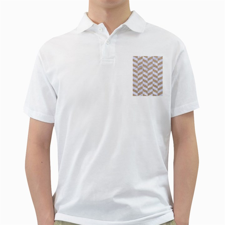 CHEVRON1 WHITE MARBLE & SAND Golf Shirts