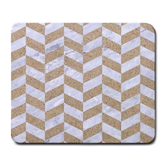 Chevron1 White Marble & Sand Large Mousepads