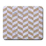 CHEVRON1 WHITE MARBLE & SAND Large Mousepads Front