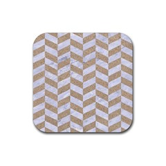CHEVRON1 WHITE MARBLE & SAND Rubber Square Coaster (4 pack)