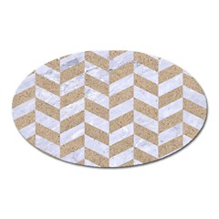 CHEVRON1 WHITE MARBLE & SAND Oval Magnet