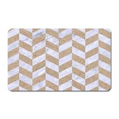 Chevron1 White Marble & Sand Magnet (rectangular)
