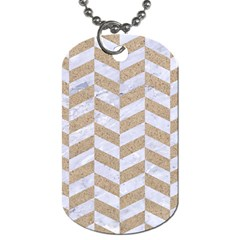 CHEVRON1 WHITE MARBLE & SAND Dog Tag (One Side)