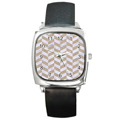 CHEVRON1 WHITE MARBLE & SAND Square Metal Watch